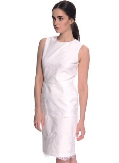 House Of Camellia Kolsuz Kısa Elbise Beyaz